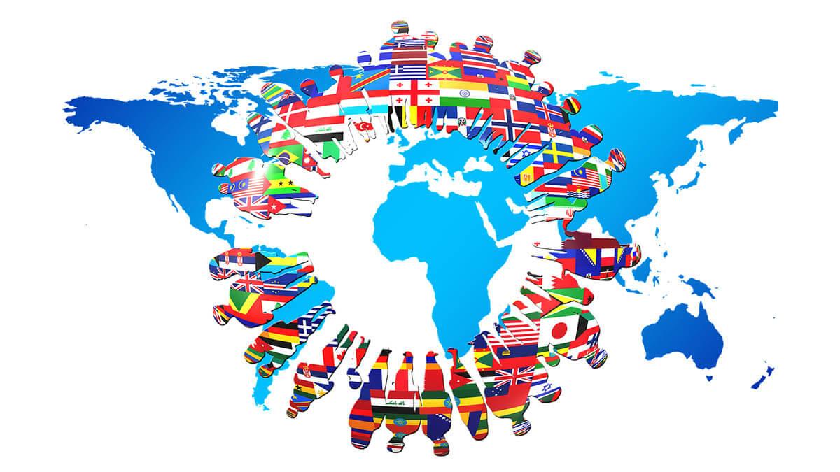 landkarte menschen flaggen an