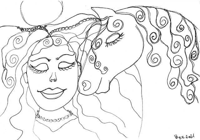 meditieren mit pferden zeichnung