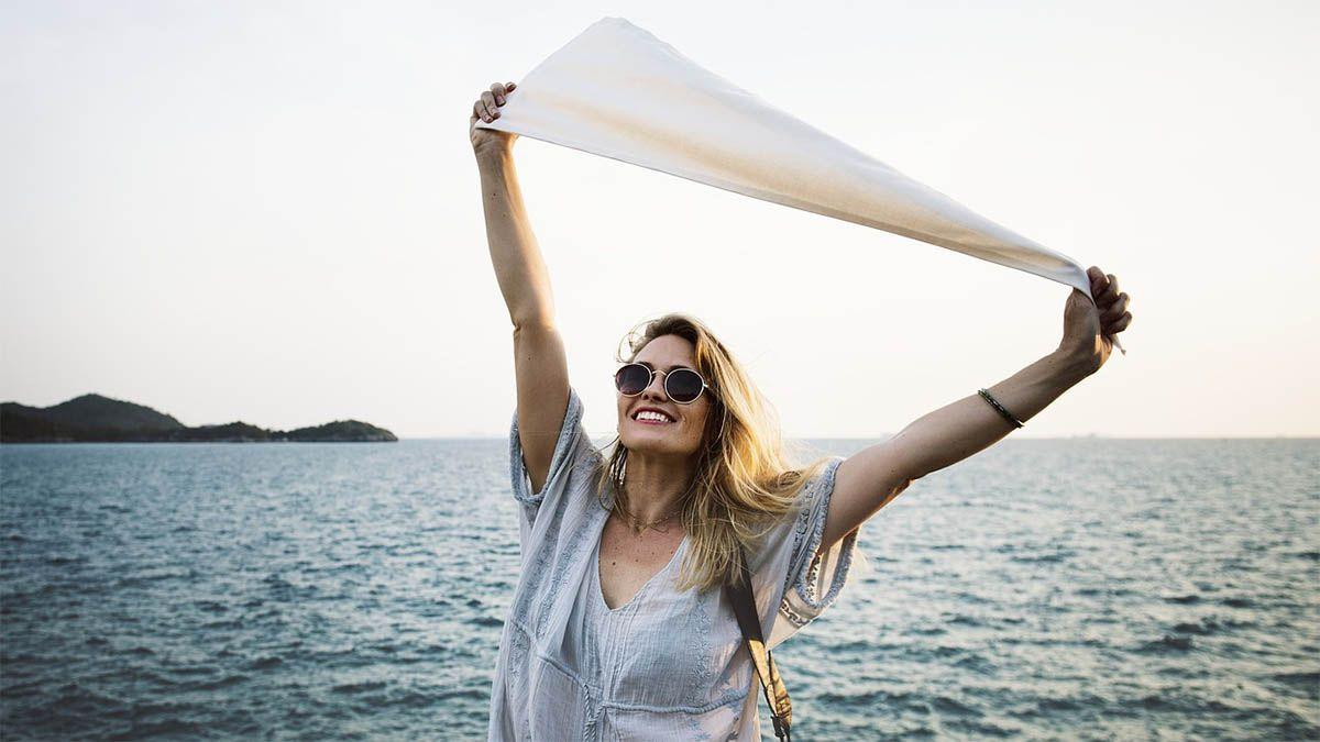 frau segeltuch freude sommer