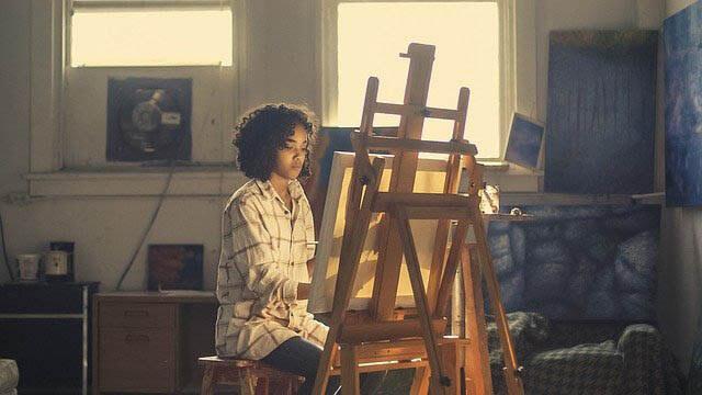 kind malt auf leinwand klein