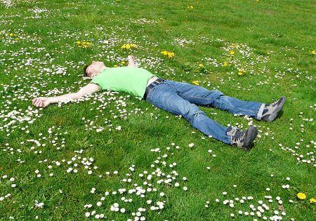 mann liegt entspannt auf wiese