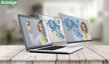 praesentation frau laptop