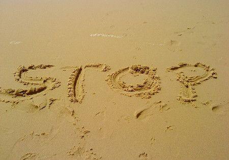 stop sand geschrieben